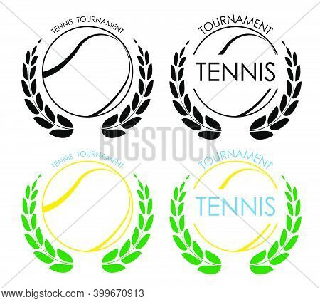 Symbols Sport Ball For Tennis On White Background With Winner Laurel Wreath. Tennis Competition. Iso