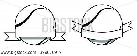 Symbol Set, Sport Ball For Tennis On White Background With Ribbon. Tennis Competition. Isolated Vect