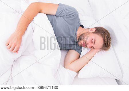 Seeing A Dream. Sexy Handsome Man Sleeping And Having Dream In Bed Alone. Early Morning Dream. Enjoy