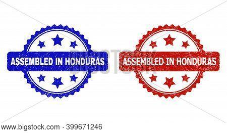 Rosette Assembled In Honduras Seal Stamps. Flat Vector Textured Seal Stamps With Assembled In Hondur
