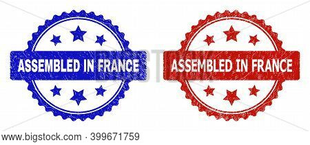 Rosette Assembled In France Seal Stamps. Flat Vector Distress Seal Stamps With Assembled In France M