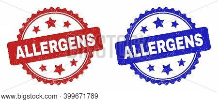 Rosette Allergens Seal Stamps. Flat Vector Scratched Seal Stamps With Allergens Phrase Inside Rosett