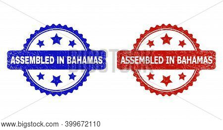 Rosette Assembled In Bahamas Watermarks. Flat Vector Grunge Watermarks With Assembled In Bahamas Tex