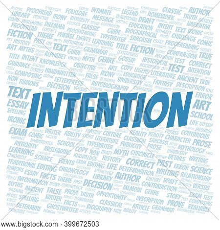 Intention Typography Word Cloud Create With Text Only