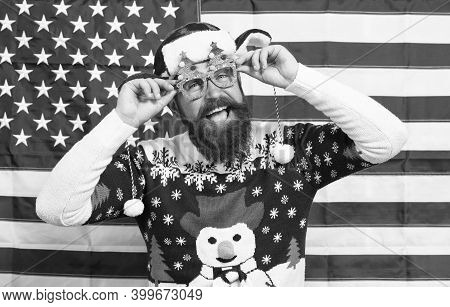 The Joy Of Continuous Celebration. Bearded Man Celebrate Christmas And New Year. Happy Hipster In Pa