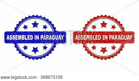 Rosette Assembled In Paraguay Stamps. Flat Vector Grunge Stamps With Assembled In Paraguay Title Ins