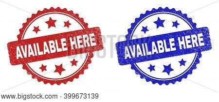 Rosette Available Here Seal Stamps. Flat Vector Distress Seal Stamps With Available Here Text Inside