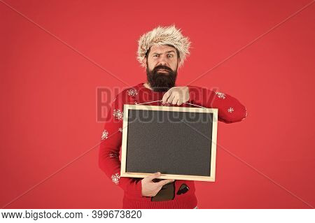 Become Professional Barber. Surprised Barber Hold Empty Blackboard. Bearded Man Advertising Barber S