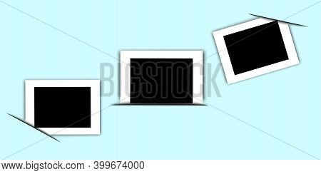 Abstract Image With Photo Frames On Blue Background. Scrapbook Design. Photo Frame Tucked Corners. S