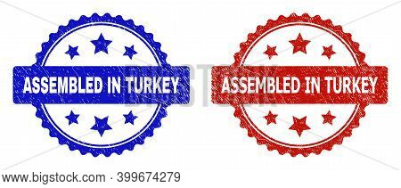 Rosette Assembled In Turkey Seal Stamps. Flat Vector Scratched Stamps With Assembled In Turkey Title
