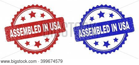 Rosette Assembled In Usa Watermarks. Flat Vector Distress Watermarks With Assembled In Usa Title Ins