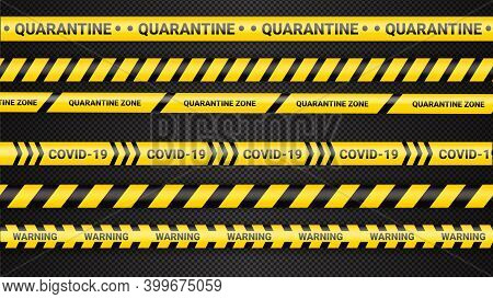 Quarantine Danger Tape. Covid 19 And Quarantine Zone Yellow Warning Tape. Coronavirus Covid Danger S