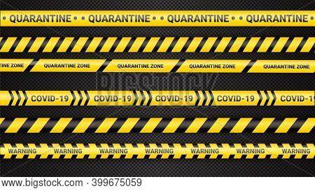Quarantine Danger Tape. Covid 19 And Quarantine Zone Yellow Warning Tape. Coronavirus Covid Danger S