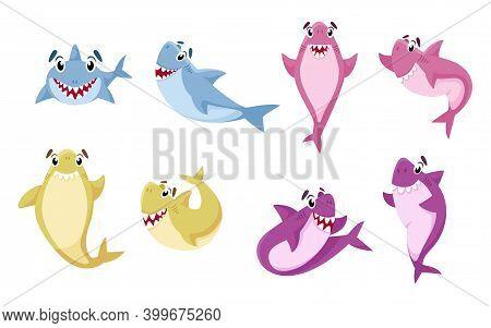 Cartoon Shark Isolated Clipart - Cute Undersea Or Marine Animals, Nursery Nautical Life Illustration