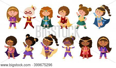 Superhero Cartoon Girls In Super Costumes, Cute African American Female Characters Isolated Vector C