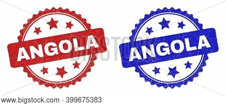 Rosette Angola Seal Stamps. Flat Vector Distress Stamps With Angola Caption Inside Rosette With Star