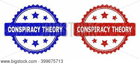 Rosette Conspiracy Theory Seals. Flat Vector Grunge Stamps With Conspiracy Theory Message Inside Ros