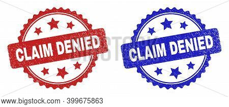 Rosette Claim Denied Seal Stamps. Flat Vector Scratched Seal Stamps With Claim Denied Phrase Inside
