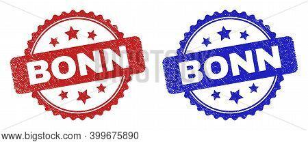 Rosette Bonn Watermarks. Flat Vector Grunge Watermarks With Bonn Message Inside Rosette Shape With S