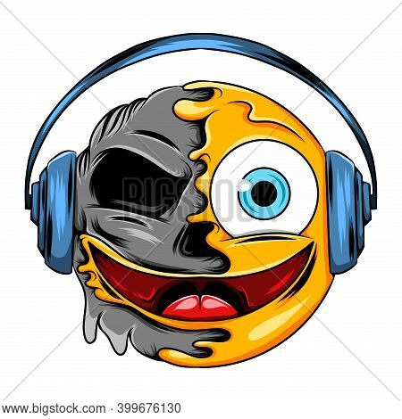 A Joyful Face Expression With A Blue Headset Changes To Joyful Death Emoticon