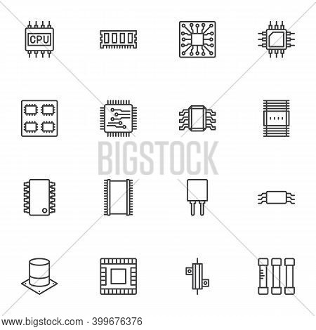 Computer Microchip Line Icons Set, Outline Vector Symbol Collection, Linear Style Pictogram Pack. Si