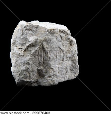 Close Up Of Limestone Rock Isolated On Black Background. Geological Mineral Stone For Geological Col