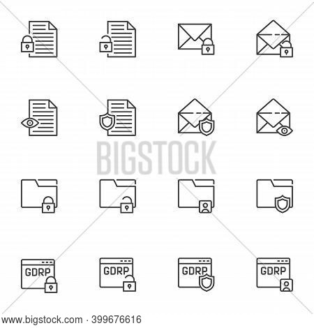 Data Protection Line Icons Set, Outline Vector Symbol Collection, Linear Style Pictogram Pack. Signs