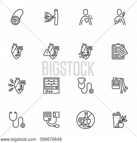 Heart Disease Line Icons Set, Outline Vector Symbol Collection, Linear Style Pictogram Pack. Signs,