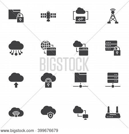 Computer Network Technology Vector Icons Set, Modern Solid Symbol Collection, Filled Style Pictogram