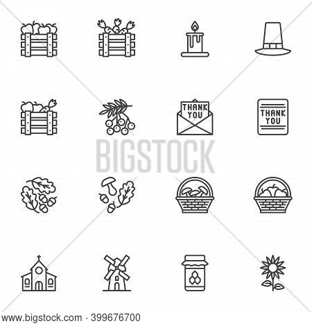 Thanksgiving Day Related Line Icons Set, Outline Vector Symbol Collection, Linear Style Pictogram Pa