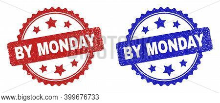 Rosette By Monday Seals. Flat Vector Grunge Watermarks With By Monday Phrase Inside Rosette Shape Wi