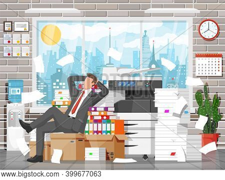 Business Man Character Sleep In Office In Bunch Of Papers. Tired Businessman Or Office Worker Sleepi
