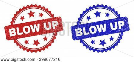 Rosette Blow Up Seal Stamps. Flat Vector Grunge Seal Stamps With Blow Up Message Inside Rosette With