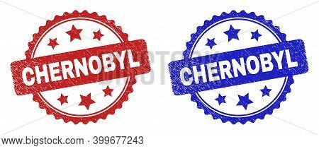 Rosette Chernobyl Seal Stamps. Flat Vector Grunge Seal Stamps With Chernobyl Message Inside Rosette