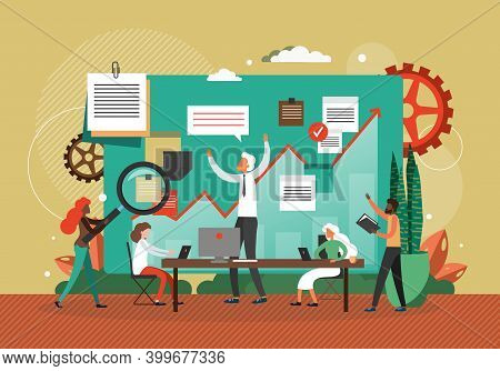 Business Meeting With Company Ceo, Concept Flat Vector Illustration. Team Work On Finance And Busine