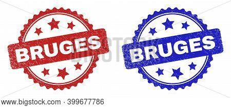 Rosette Bruges Watermarks. Flat Vector Textured Watermarks With Bruges Caption Inside Rosette Shape