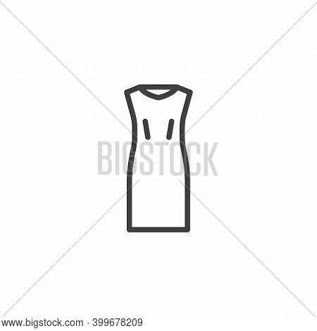 Sleeveless Dress Line Icon. Linear Style Sign For Mobile Concept And Web Design. Womens Bodycon Dres