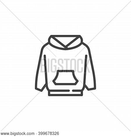 Hoodie Sweatshirt Line Icon. Linear Style Sign For Mobile Concept And Web Design. Long Sleeve Hoodie
