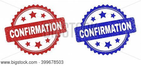 Rosette Confirmation Stamps. Flat Vector Grunge Stamps With Confirmation Phrase Inside Rosette With