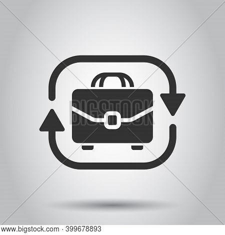 Briefcase With Arrow Icon In Flat Style. Businessman Bag Vector Illustration On White Isolated Backg