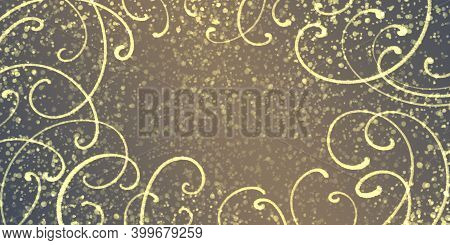 Brown Festive Rich Rich Background With A Border Of Ornate Golden Curves, Grainy And Mottling.