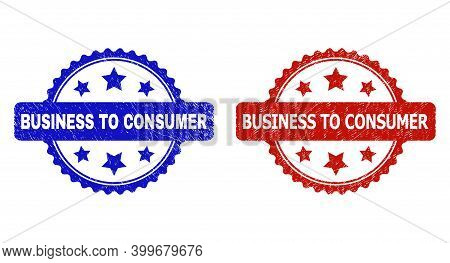 Rosette Business To Consumer Seal Stamps. Flat Vector Grunge Seal Stamps With Business To Consumer T