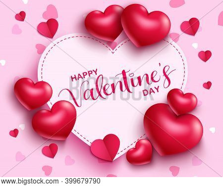 Valentine's Day Vector Template Background. Happy Valentine's Day Greeting Text In Heart Pink Empty