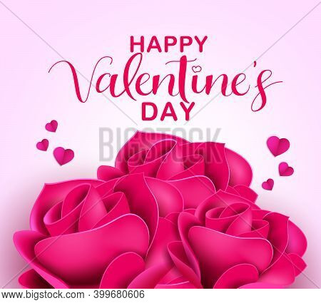 Valentine's Rose Vector Background Design. Happy Valentine's Day Text With Pink Roses Bouquet For Ro