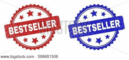 Rosette Bestseller Seal Stamps. Flat Vector Textured Seal Stamps With Bestseller Title Inside Rosett