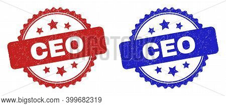 Rosette Ceo Seal Stamps. Flat Vector Distress Seal Stamps With Ceo Title Inside Rosette With Stars,