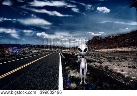 Alien stands on highway. Scifi art. 3d rendering