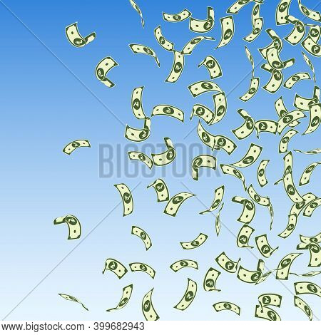 Indian Rupee Notes Falling. Sparse Inr Bills On Blue Sky Background. India Money. Captivating Vector