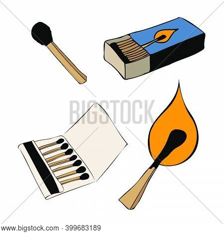Set Of Isolated Matches. An Unused Wooden Match Burning With An Orange Flame, And Various Open Boxes