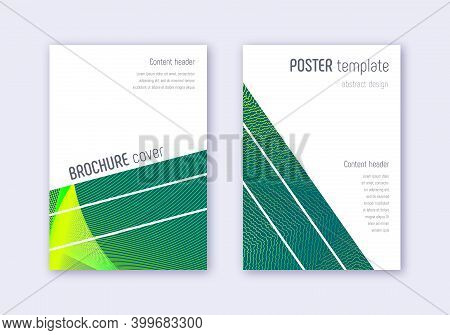Geometric Cover Design Template Set. Green Abstract Lines On Dark Background. Breathtaking Cover Des